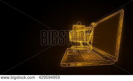 Online Shopping, Retail And Ecommerce. Polygonal Illustration Of A Laptop And A Shopping Cart. Ecomm