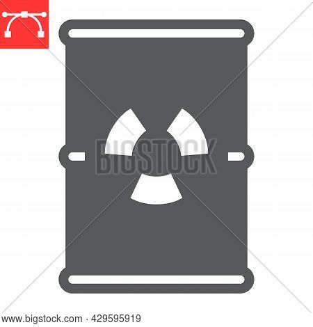 Barrel With Radioactive Waste Glyph Icon, Recycle And Ecology, Chemical Waste Vector Icon, Vector Gr