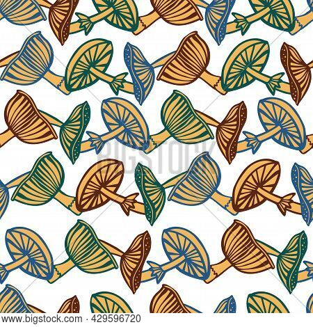 Vector Seamless Colorful Pattern With Lined Mushrooms Or Fungi In Yellow Tones