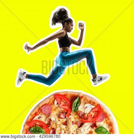 Fit Young Woman Running From Bad Food On Color Background. Female Sprinter Over Pizza. Healthy Eatin