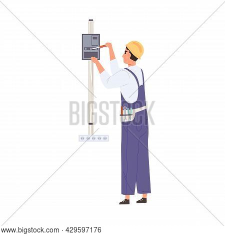Electrician Working With Electricity And Switchboard, Repairing And Fixing Electrical Wiring System.