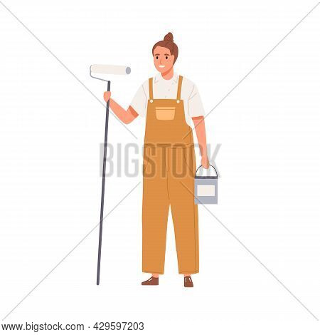 Wall Painter Standing With Paint Bucket And Roller. Portrait Of Happy Smiling Female Worker Holding