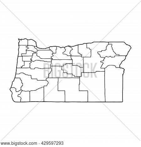 Outline Map Of Oregon White Background. Vector Map With Contour.