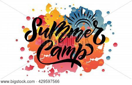 Hand Sketched Summer Camp Lettering Typography. Concept For Hiking Camp, Camping, Night Fishing Camp