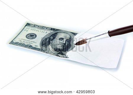 Making fake dollar isolated on white