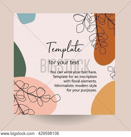 Abstract Art Nature Background Vector. Modern Shape Line Art Wallpaper. Boho Foliage Leaves And Flor