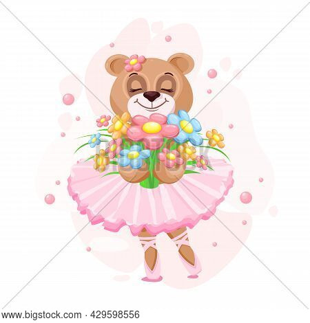 Teddy Bear Ballerina In A Tutu With A Bouquet Of Flowers. Vector Illustration Of A Cute And Dreamy G