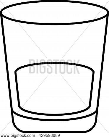 Brandy Glass Logo. Black Linear Glass. Vector Icon. Bramdy Glass On A White Background.