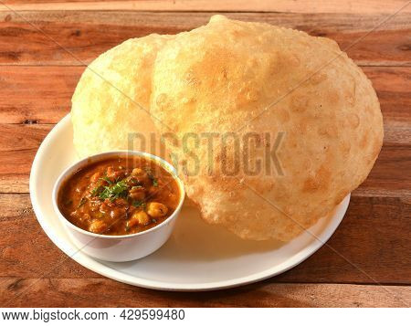 Chole Bhature, Spicy Chick Peas Curry Also Known As Chole Or Channa Masala Is Traditional North Indi