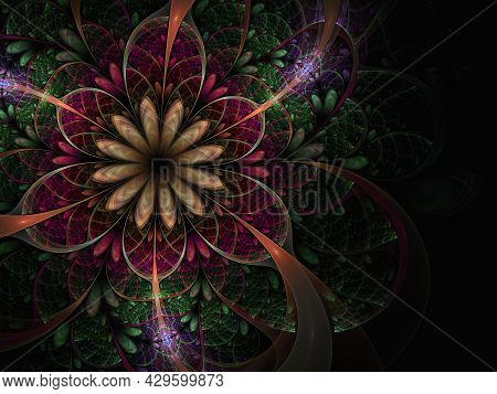 Multicolored Beautiful Fractal Flower In Stained-glass Window Style. 3d Artwork For Creative Design
