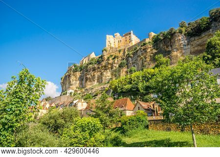 View At The Beynac-et-cazenac Village Located In The Dordogne Department In Southwestern France.