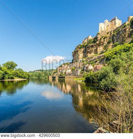View At The Beynac-et-cazenac Village Near Dordogne River In France