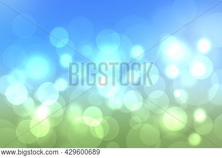 Abstract Bright Gradient Motion Spring Or Summer Landscape Texture Background With Natural Blue Gree