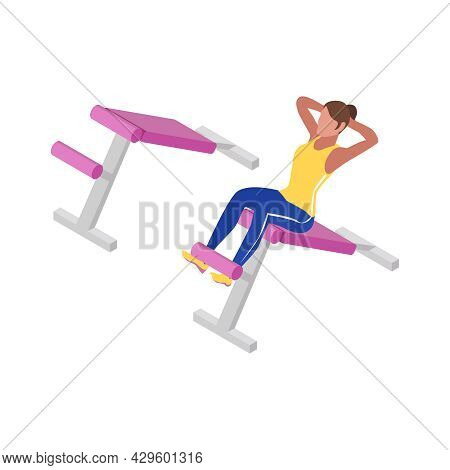 Fitness Isometric Icon With Woman Doing Abdominal Exercises In Gym Isolated Vector Illustration