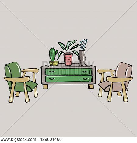 Two Chairs, Cabinet, Chest Of Drawers,  Flower In A Pot. Cozy Apartment. Storage Organization, Minim