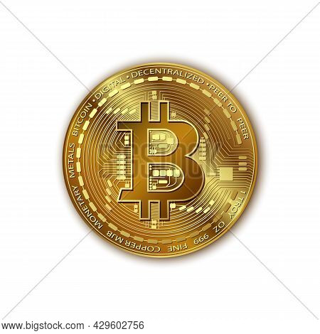 Bitcoin. Vector Realistic Shiny Gold Bitcoin With A Shadow. Golden Digital Cryptocurrency Coin. Elec