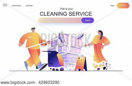 Cleaning Service Web Concept For Landing Page. Cleaning Team With Mops, Bringing Order And Cleanline