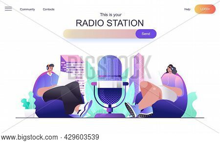 Radio Station Web Concept For Landing Page. Presenters On Radio Program Speak To Microphone, Man And