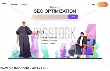 Seo Optimization Web Concept For Landing Page. Man And Woman Set Up Search Engine, Keywords, Search