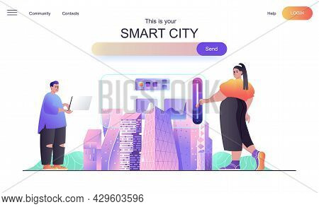 Smart City Web Concept For Landing Page. Man And Woman Use Dashboard To Control And Manage Homes And