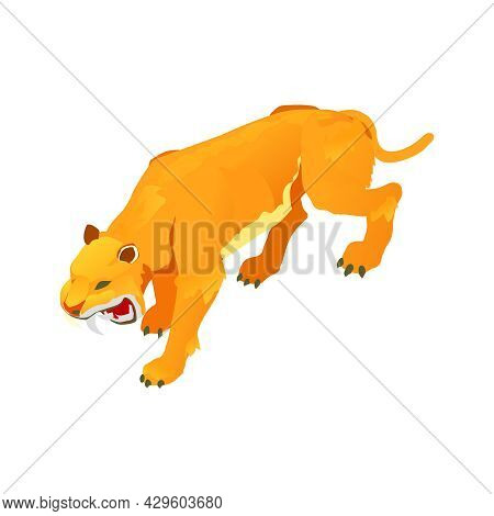 Isometric Icon With Roaring Ancient Sabre Toothed Tiger Vector Illustration