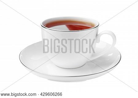 Ceramic Cup Of Aromatic Rooibos Tea Isolated On White