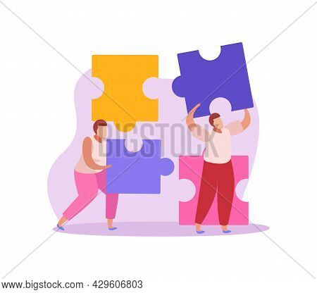 Crowdfunding Flat Icon With People Holding Colorful Puzzle Pieces Vector Illustration