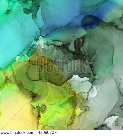 Alcohol Ink Background, Artistic Blots Of Watercolor Paint. Splash Blot With Liquid Flow. Abstract F