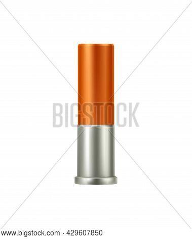 Realistic Bullet Cartridge For Shotgun Vector Illustration