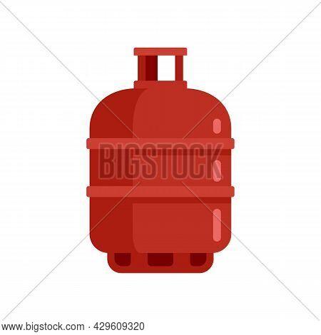 Gas Cylinder Butane Icon. Flat Illustration Of Gas Cylinder Butane Vector Icon Isolated On White Bac