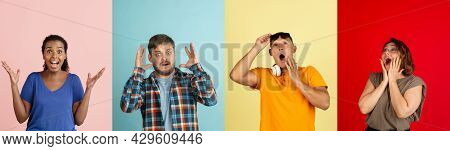 Four Astonished, Surprised Young People, Men And Women Isolated Over Colored Backgrounds. Collage, F