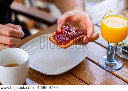Orange juice for breakfast. Cupcake with jam. Baking with jam. Toast with jam. Orange. Fresh for bre