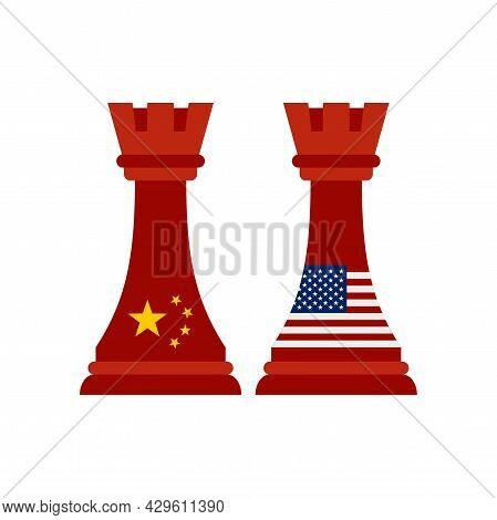 Trade War Chess Icon. Flat Illustration Of Trade War Chess Vector Icon Isolated On White Background