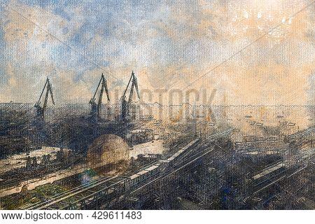 Territory Of The Seaport. Portal Cranes, Conveyor Belts, Warehouses. Industry. Cargo Processing. Vie