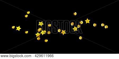 Scattered Golden Seqines And Stars Isolated On Black Background