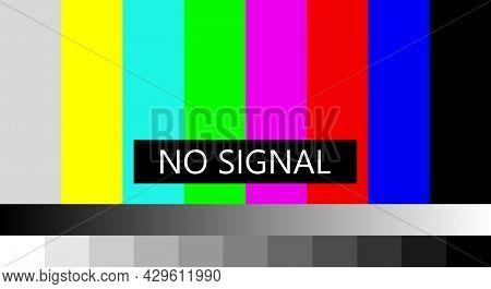 No Tv Signal. Not Getting A Signal Symbol, Screen Displays Color Bars Pattern Error Message, Problem