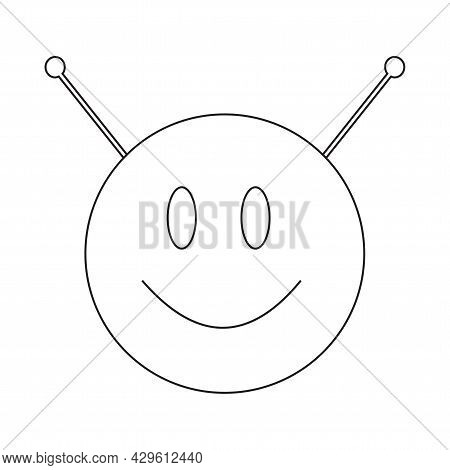 Extraterrestrial Alien Face Or Head Symbol Line Art Vector Icon For Apps And Websites Isolated On A