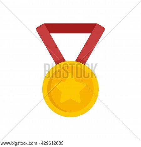Gold Medal Reputation Icon. Flat Illustration Of Gold Medal Reputation Vector Icon Isolated On White