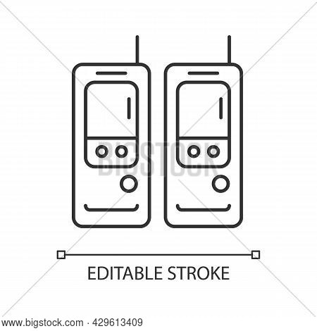 Walkie-talkie Linear Icon. Vintage Handheld Transceiver. Small Portable Device For Communication. Th