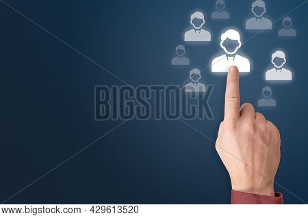 Human Resources And Management Concept. Hand Choosing People Icon. Human Resources Recruitment. Huma