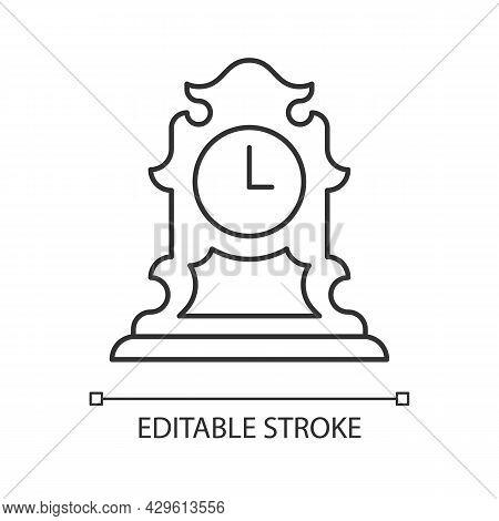 Vintage Tabletop Clock Linear Icon. Antique Table Clock. Collectible Rare Item. Retro Timepiece. Thi