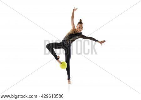 Portrait Of Little Girl, Rhythmic Gymnastics Artist Isolated On White Studio Background. Concept Of