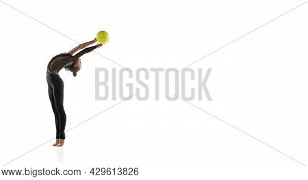 Flyer With Of Little Sportive Girl, Rhythmic Gymnastics Artist Isolated On White Studio Background.
