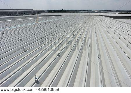 Clip Locks Installed On Metal Sheet Roof For Solar Pv Panel Installation