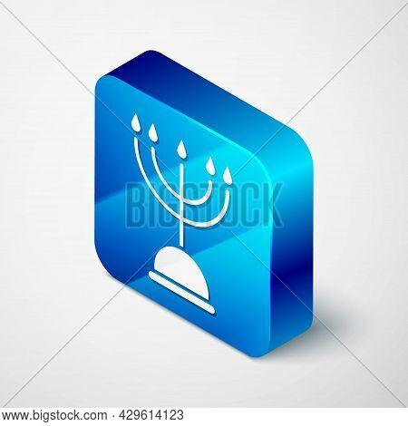 Isometric Hanukkah Menorah Icon Isolated On Grey Background. Hanukkah Traditional Symbol. Holiday Re