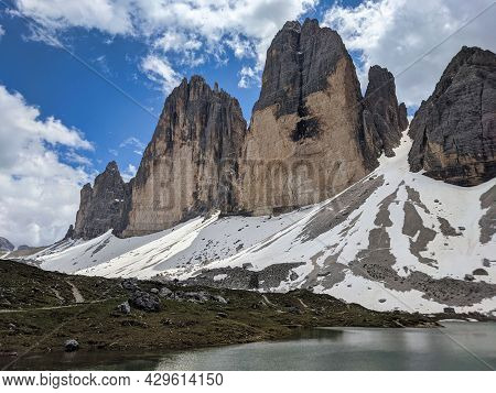 Tre Cime Di Lavaredo, View Of The Large North Face. Three Peaks In The Dolomites, Hiking In Nature.