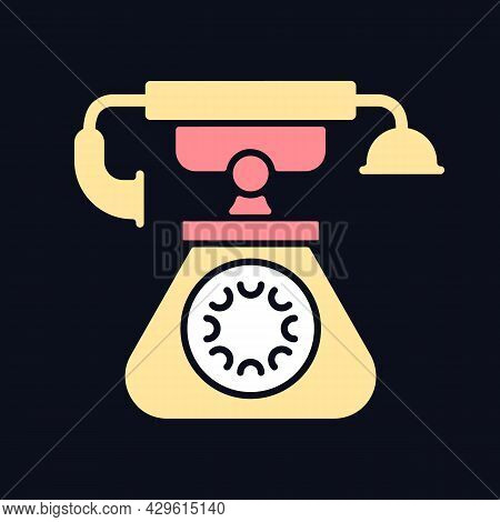 Vintage Telephone Rgb Color Icon For Dark Theme. Old School Rotary Phone. Candlestick Telephone. Iso