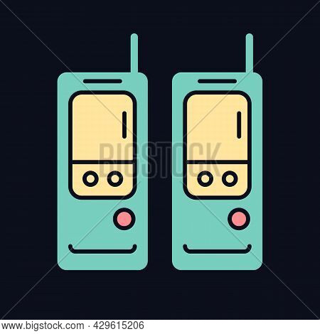 Walkie-talkie Rgb Color Icon For Dark Theme. Vintage Handheld Transceiver. Portable Device For Commu