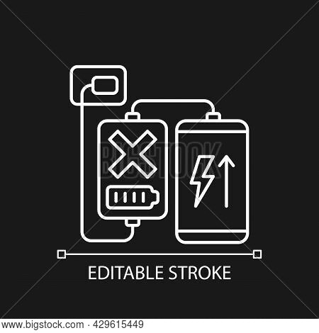 Charging, Discharging White Linear Manual Label Icon For Dark Theme. Thin Line Customizable Illustra