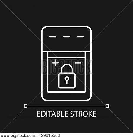 Non-replaceable Battery White Linear Manual Label Icon For Dark Theme. Thin Line Customizable Illust